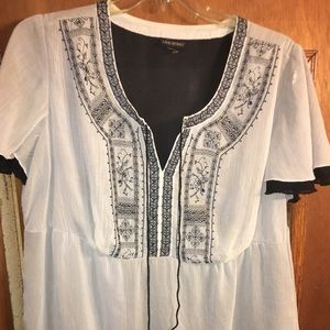 White and black peasant style shirt